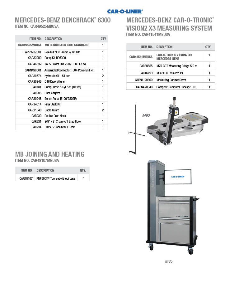 MERCEDES-BENZ benchrack™ 6300, MERCEDES-BENZ CAR-O-TRONIC® VISION2 X3 MEASURING SYSTEM, Mercedes-Benz Joining and heating